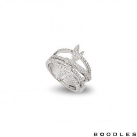 Boodles White Gold Diamond Dragonfly Ring